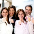 Business with thumbs up — Stock Photo