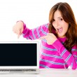 Excited woman with a computer — Stock Photo