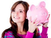 Woman holding a piggybank — Stock Photo