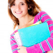 Stock Photo: Girl holding notebooks