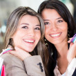 Happy shopping girls — Stock Photo