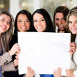 Women holding a banner — Stock Photo