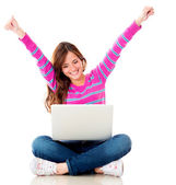 Happy woman online — Stock Photo
