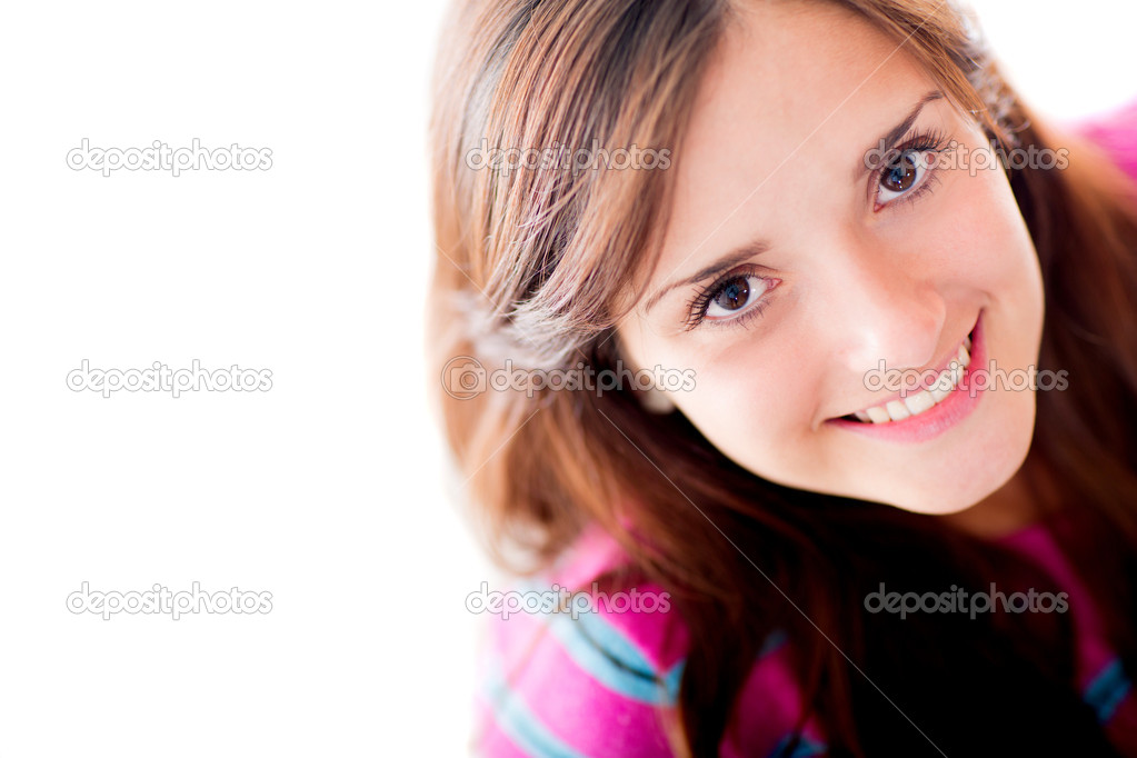 Beautiful woman portrait smiling - isolated over a white background — Stock Photo #11009073