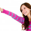 Casual woman pointing — Stock Photo #11029839