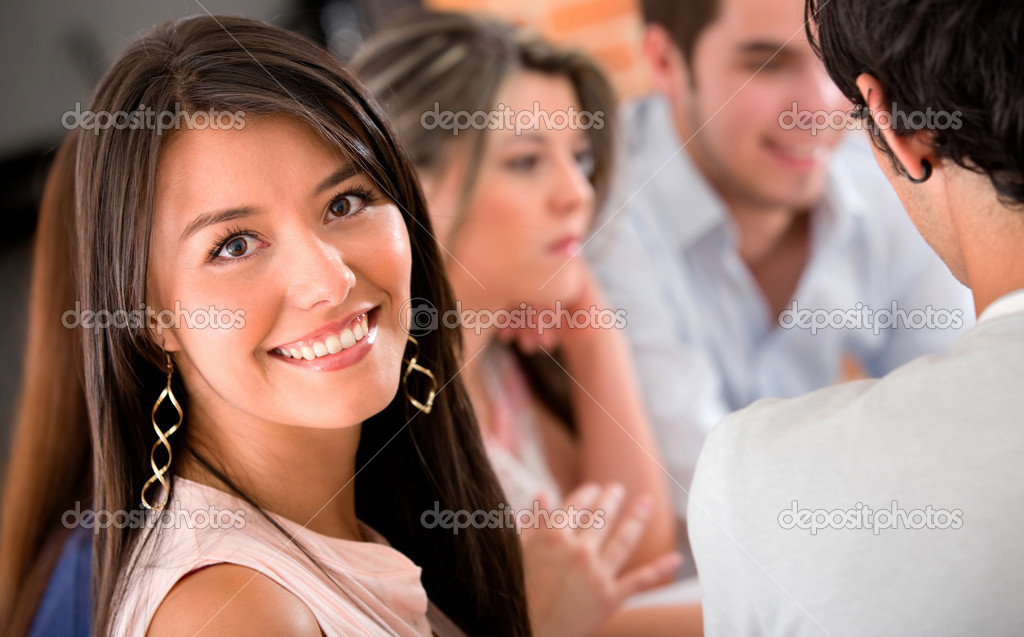 Young woman with a study group smiling — Stock Photo #11029987