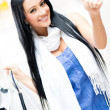 Shopping womwith thumbs up — Stock Photo #11045766