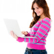Stock Photo: Woman holding a laptop
