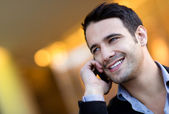 Podnikatel na telefonu — Stock fotografie