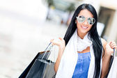Summery girl shopping — Stock Photo