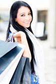 Mooie winkelstraat vrouw — Stockfoto