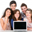 Group of with a laptop — Stock Photo #11109329
