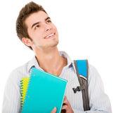 Estudante do sexo masculino pensativo — Foto Stock