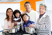 Family cooking at home — Foto de Stock
