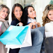 Girls at the shopping center — Stock Photo