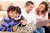 Family loving technology — Stock Photo