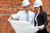 Engineers at a construction site — Stock Photo