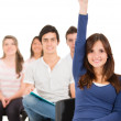 Female student raising her hand - Stock Photo