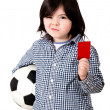 Boy with a red card - Foto Stock