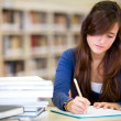 Woman studying at the library — Stock Photo