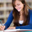 Girl studying at the library — Stock Photo