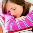 Stockfoto: Student fallng asleep