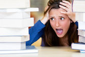 Worried female student — Stock Photo