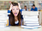 Frustrated female student — Stock Photo