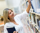 Student looking for a book — Stock Photo