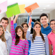 Excited group of students — Stock Photo