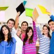 Grupo entusiasmado de estudiantes — Foto de Stock