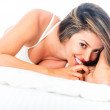 Gorgeous woman in bed — Stock Photo
