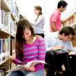 Stock Photo: Students researching at library