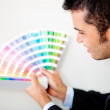 Stock Photo: Designer with color palette