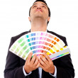 Man holding a color guide — Stock Photo