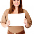 Woman holding a banner — Stock Photo #11508275