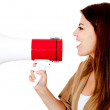 Woman with a megaphone - Stock Photo
