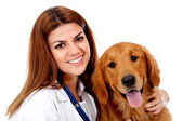 Veterano femenino con un perro — Foto de Stock