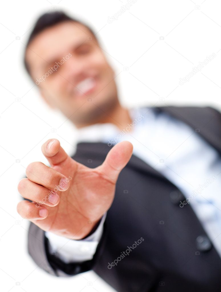 Businessman with hand extended about to point at something - isolated over white — Stok fotoğraf #11508222