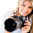 Tourist with a camera — Stock Photo
