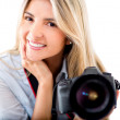 Woman with a camera — Lizenzfreies Foto