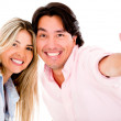 Couple with thumbs up — Stock Photo