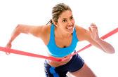 Kadın atlet kazanma — Stok fotoğraf