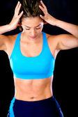 Atleta feminina chateada — Fotografia Stock