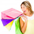 Happy female shopper — Foto Stock
