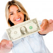 Woman holding a dollar - Stock Photo