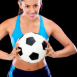 Female football player — Stock Photo