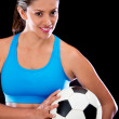 Woman holding a football ball — Stock Photo