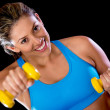 Gym woman with weights - Stock Photo