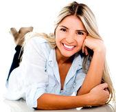 Linda mulher feliz — Fotografia Stock